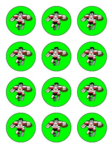 X12 2 Rugby Player Birthday Cup Cake Toppers
